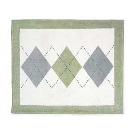 Blue And Green Argyle Floor Rug