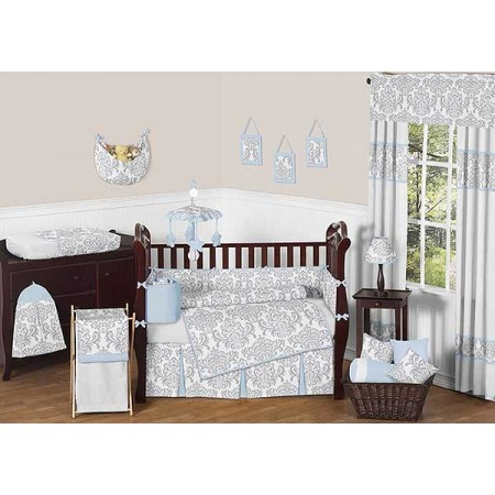 Avery Blue Crib Bedding Set by Sweet Jojo Designs - 9 piece
