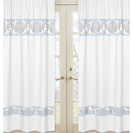 Avery Blue Window Panels - Damask Print on White Panels