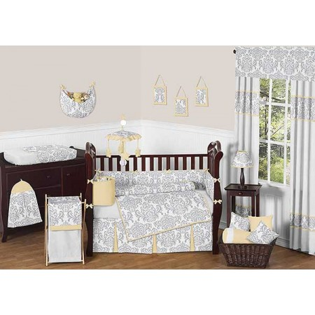 Avery Yellow Crib Bedding Set by Sweet Jojo Designs - 9 piece