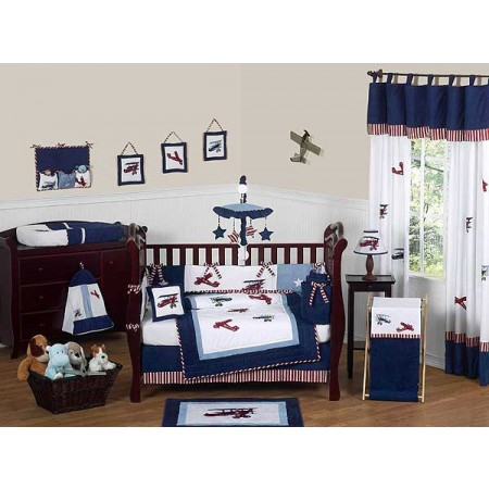 Aviator Crib Bedding Set by Sweet Jojo Designs - 9 piece
