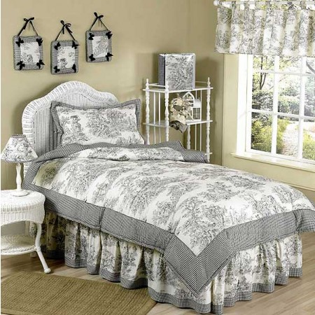 Black French Toile Comforter Set - 4 Piece Twin Size By Sweet Jojo Designs