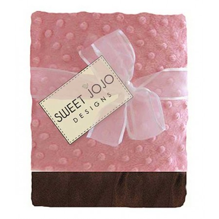 Pink And Brown Chenille Dot And Satin Baby Blanket