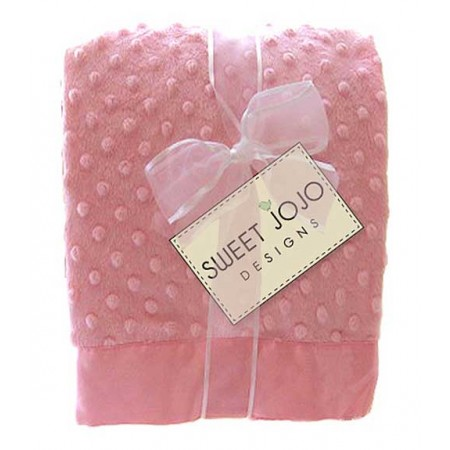 Pink Chenille Dot And Satin Baby Blanket