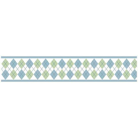 Blue And Green Argyle Wall Border