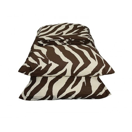 Brown & Cream Zebra Print Sheet Set - Extra Long Twin Size - Closeout