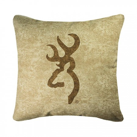 Browning Buckmark Accent Pillow - Tan with Brown Logo