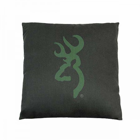 Buckmark Camo Green Square Accent Pillow - 20 X 20 Logo - Light Logo on Dark Green Background