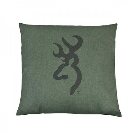 Buckmark Camo Green Square Accent Pillow - 20 X 20 Logo - Dark Logo on Light Green Background