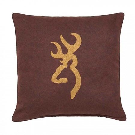Browning Buckmark Burgundy Square Logo Pillow - Burgundy Background