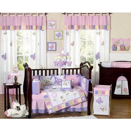 Butterfly Pink & Lavender Crib Bedding Set by Sweet Jojo Designs - 9 piece