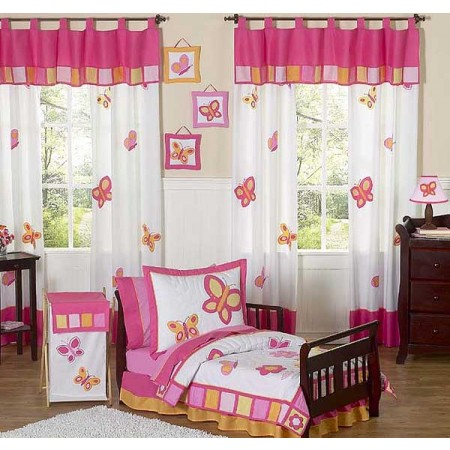 Butterfly Pink & Orange Toddler Bedding Set By Sweet Jojo Designs