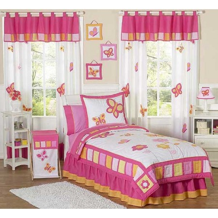 Butterfly Pink & Orange Bedding Set - 4 Piece Twin Size By Sweet Jojo Designs