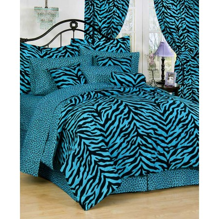 Blue Zebra Print Bed In A Bag Set - Extra Long Twin Size