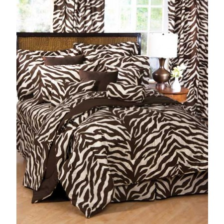 Brown & Cream Zebra Print Bed in a Bag Set - Extra Long Twin Size