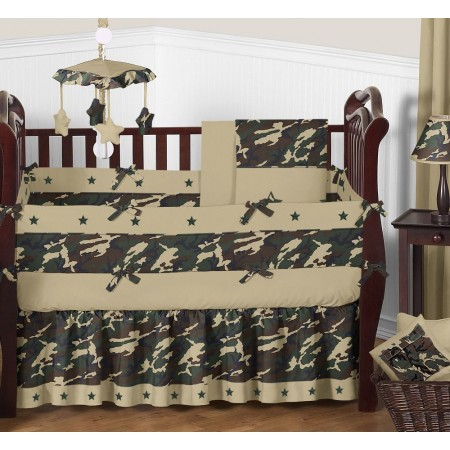 Green Camouflage Crib Bedding Set by Sweet Jojo Designs - 9 piece