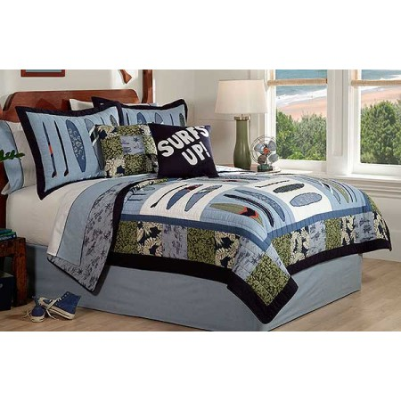 Catch a Wave Surf Themed Quilt and Sham Set - Full/Queen Size