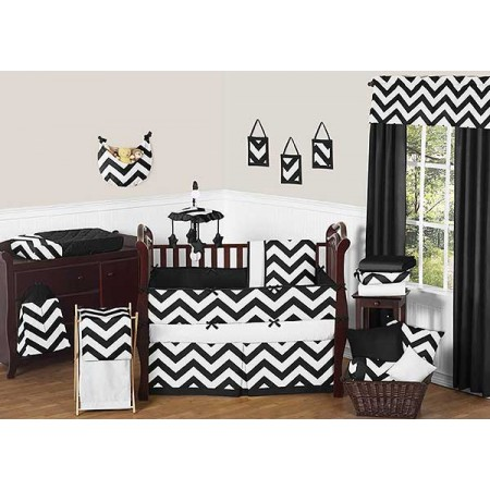 Black & White Chevron Print Crib Bedding Set