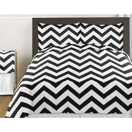 Black & White Chevron Print Bedding Set - 3 Piece Queen Size