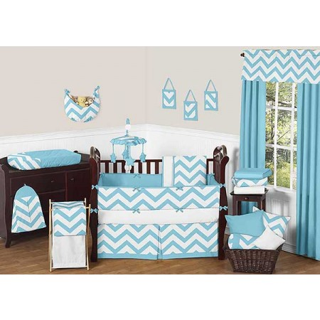 Turquoise & White Chevron Print Crib Bedding Set