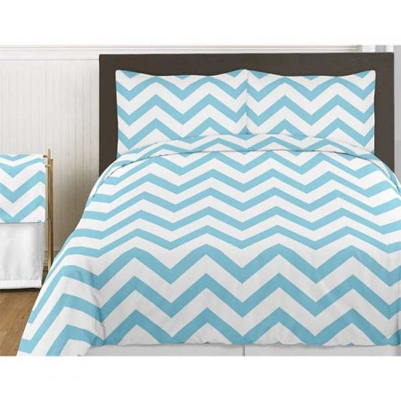 Turquoise & White Chevron Print Bedding Set - 3 Piece Queen Size
