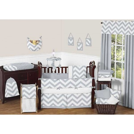 Grey & White Chevron Print Crib Bedding Set