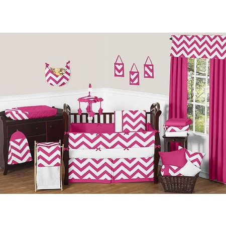 Pink & White Chevron Print Crib Bedding Set