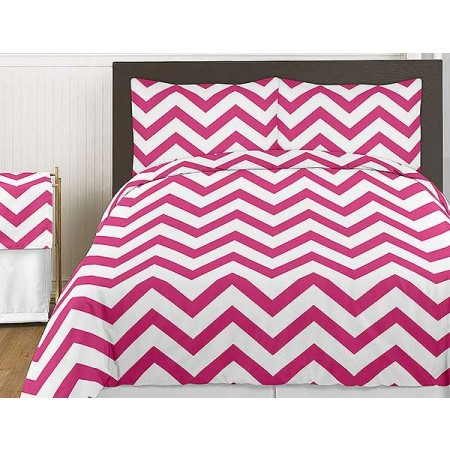 Pink & White Chevron Print Bedding Set - 3 Piece King Size
