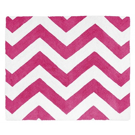 Pink & White Chevron Floor Rug