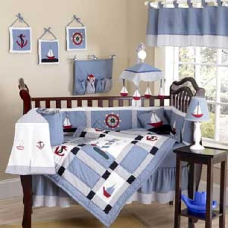 Come Sail Away Crib Bedding Set by Sweet Jojo Designs - 9 piece