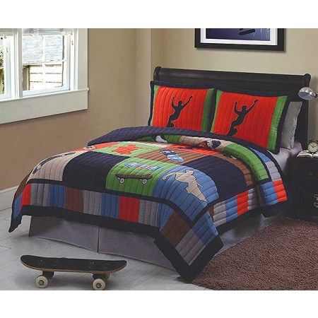 Cool Skate Skateboard Themed Quilt and Sham Set - Full/Queen Size