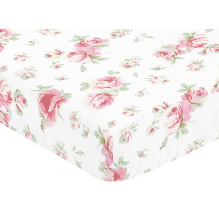 Rileys Roses Crib Sheet - Solid Green