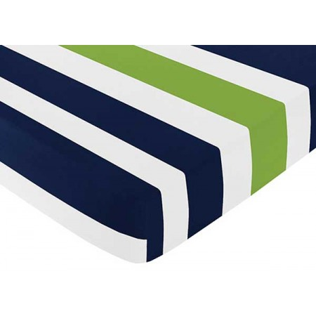 Navy & Lime Stripe Crib Sheet