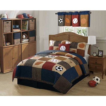 Classic Sports Quilt and Sham Set for Boys - Twin Size