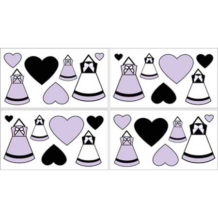 Princess Black, White and Purple Wall Decals