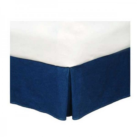 "Dark Denim Full Size Bedskirt - Tailored - (14"" drop)"
