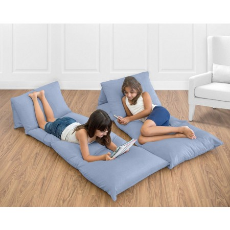 Solid Denim Blue Pillow Case Lounger