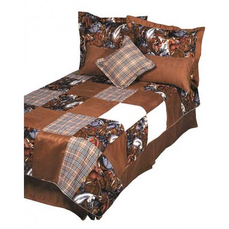 Derby - Horse Print Bunk Bed Huggers with Tailored Pillow Shams by California Kids
