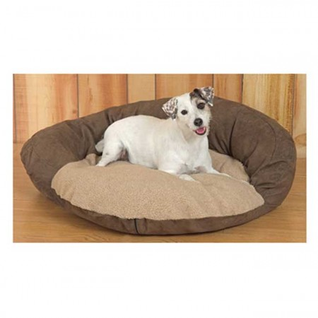 Suede Dog Bed - Brown & Tan - Small Size - 30 Inch Round