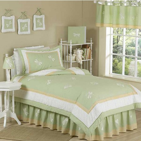 Sage Green Dragonfly Dreams Bedding Set - 4 Piece Twin Size By Sweet Jojo Designs