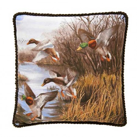 Duck Approach Square Pillow - Corded/Scene