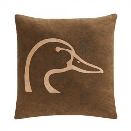 Ducks Unlimited Plaid Square Pillow - Square Logo Pillow Brown