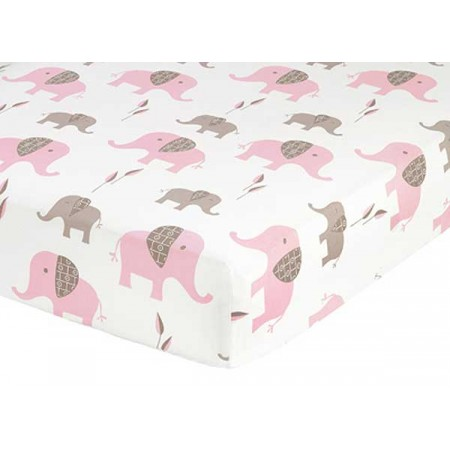 Elephant Pink & Taupe Crib Sheet