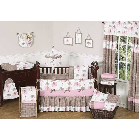 Elephant Pink & Taupe Crib Bedding Set by Sweet Jojo Designs - 9 piece