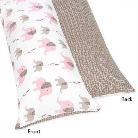 Elephant Pink & Taupe Body Pillow Cover