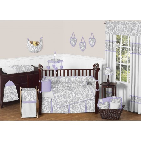 Lavender & Gray Elizabeth Crib Bedding Set by Sweet Jojo Designs - 9 piece