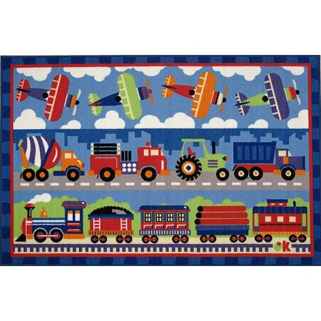 Trains, Planes, & Trucks Accent Rug