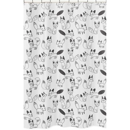 Fox Black & White Shower Curtain