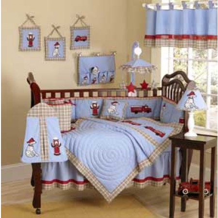Frankie's Firetruck Crib Bedding Set by Sweet Jojo Designs - 9 piece