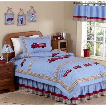 Frankies Firetruck Bedding Set - 4 Piece Twin Size By Sweet Jojo Designs